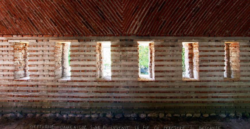 Școala de la Bunești, detaliu trapeză (2013), arhitect Ana-Maria Goilav-Guran