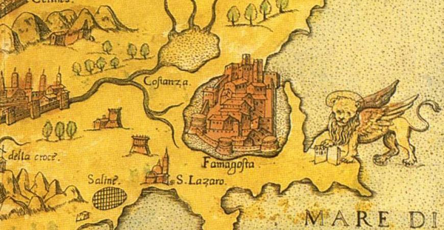Veche hartă a insulei Cipru. Este localizat aici și Kitium