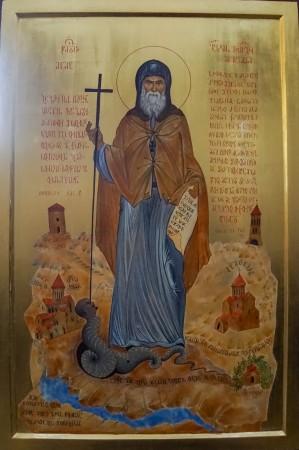 Sf. Gavriil Georgianul, icoană în biserica Mănăstirii din Chiatura;  foto: pr. D. Bahrim