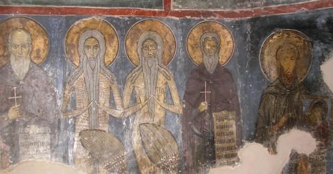 Sfinții Patericului: Onufrie, Macarie, Paisie, pictură de la Mănăstirea Sf. Neofit din Pafos (Cipru)