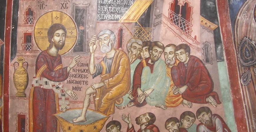 Spălarea picioarelor - peștera Sfântului Neofit