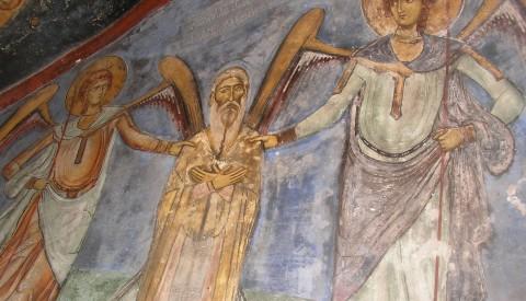 Sf. Neofit povățuit de îngeri - peștera Sfântului Neofit din Pafos, Cipru